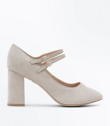 Wide Fit Grey Comfort Flex Suedette Mary Jane Courts