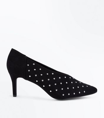 Wide Fit Black Suedette Studded Courts