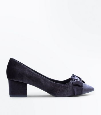 Wide Fit Black Velvet Bow Block Heel Courts