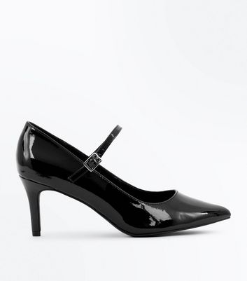 Wide Fit Black Patent Pointed Mary Jane Shoes