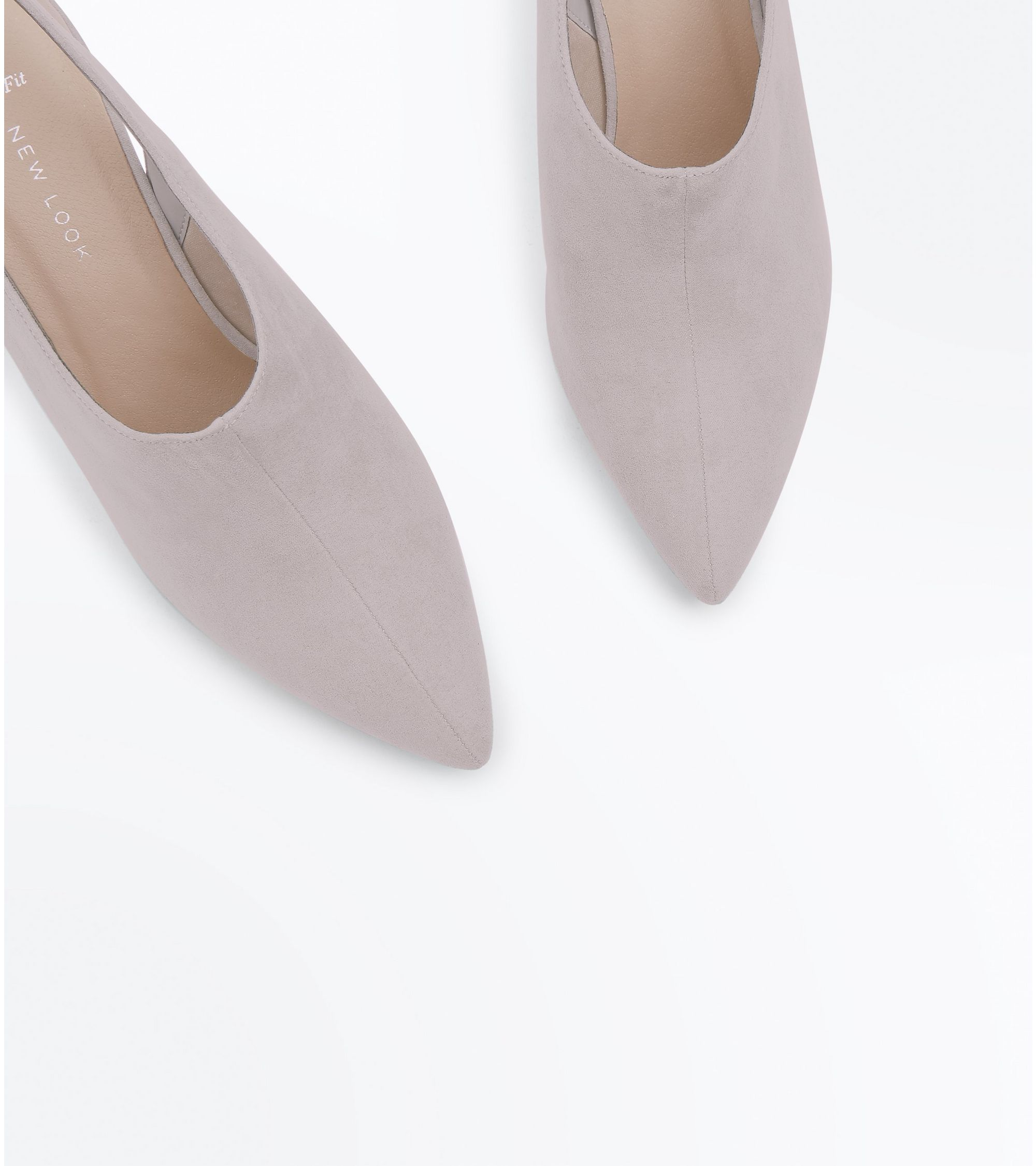 1348700818e New Look Wide Fit Grey Suedette Slingback Shoe Boots at £9
