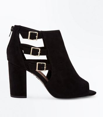 Wide Fit Black Comfort Suedette Triple Buckle Heels