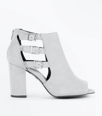 Wide Fit Grey Comfort Suedette Triple Buckle Heels