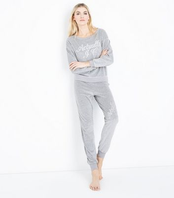 Grey Embroidered Velour Pyjama Joggers