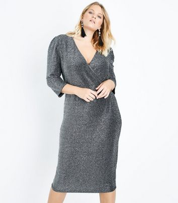 Curves Silver Glitter Wrap Front Midi Dress