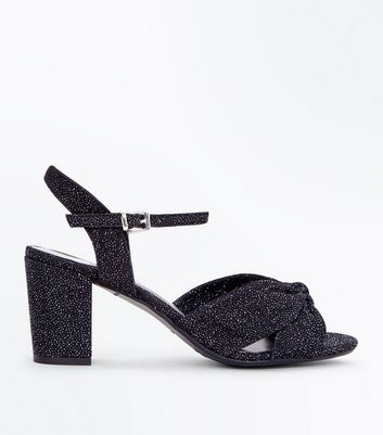 Teens Black Glitter Heeled Sandals