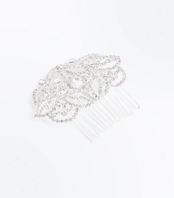 Silver Embellished Hair Comb