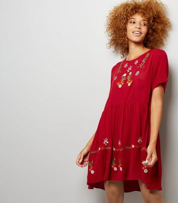 Cameo Rose Red Floral Embroidered Smock Dress