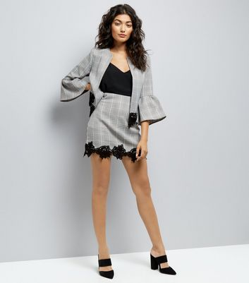 Cameo Rose Grey Check Lace Hem Skirt