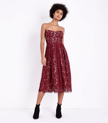 Burgundy Premium Lace Bandeau Midi Dress