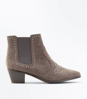 Wide Fit Grey Suedette Stud Western Ankle Boots