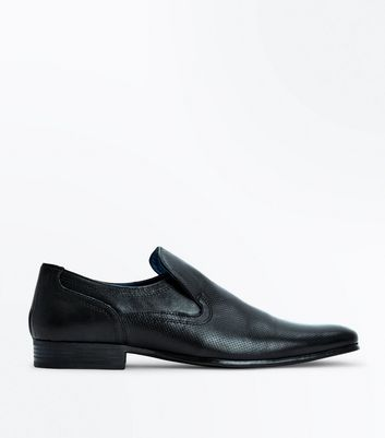 Black Perforated Leather Loafers