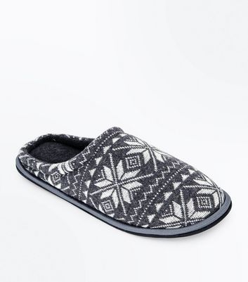 Grey Fair Isle Print Mule Slippers