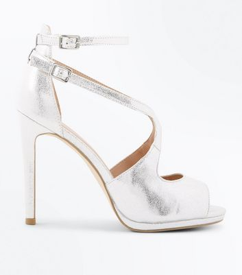 Silver Shimmer Strappy Peep Toe Sandals