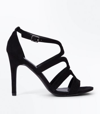 Black Suedette Swirl Strap Stiletto Sandals