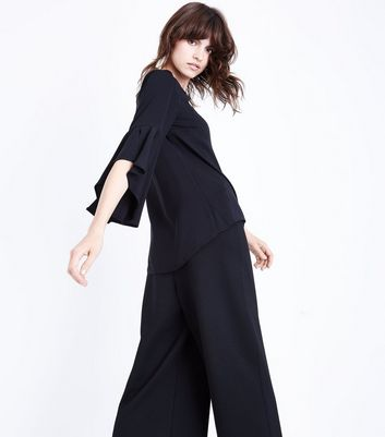 Black Split Flared Sleeve Top