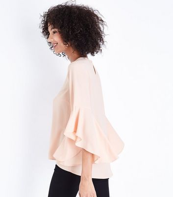 Shell Pink Split Flared Sleeve Top