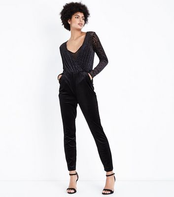 Black Leopard Print Burnout Velvet Jumpsuit