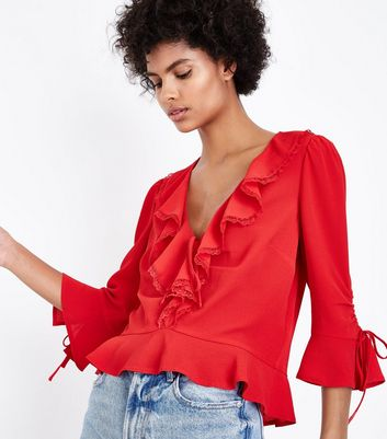 Red Lace Frill Trim Peplum Hem Shirt