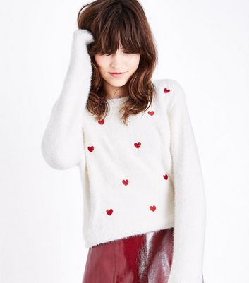Off White Heart Embroidered Fluffy Jumper