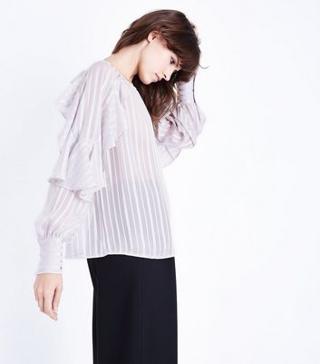 Pale Grey Stripe Frill Sleeve Blouse