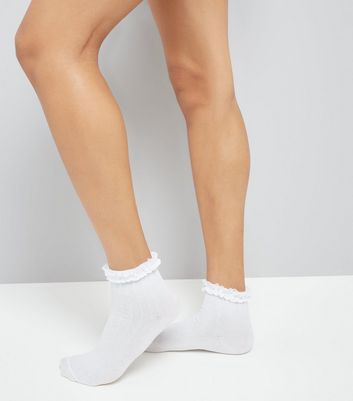 White Frill Trim Cable Knit Ankle Socks