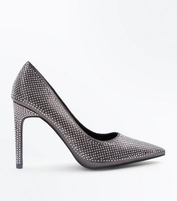 Pewter Metallic Diamante Embellished Courts