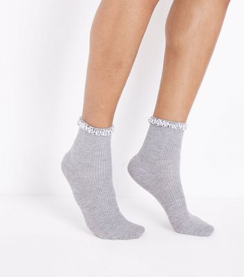 Grey Velvet Trim Ankle Socks