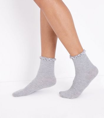 Grey Satin Frill Trim Ankle Socks