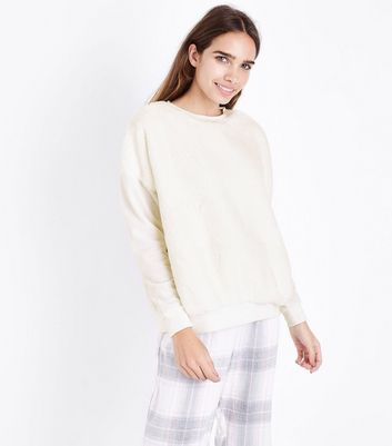 Cream Faux Fur Front Pyjama Sweatshirt