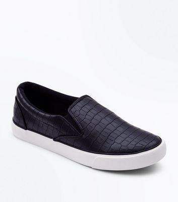 Black Croc Texture Slip On Trainers