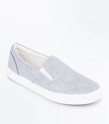 Grey Croc Texture Slip On Trainers