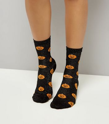 Black Glitter Pumpkin Print Socks
