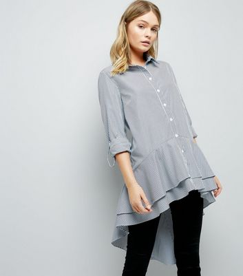Blue Stripe Peplum Dip Hem Shirt