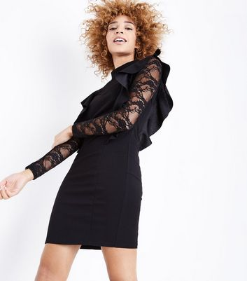Mela Black Lace Frill Trim Bodycon Dress