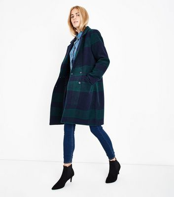 Green Check Longline Coat