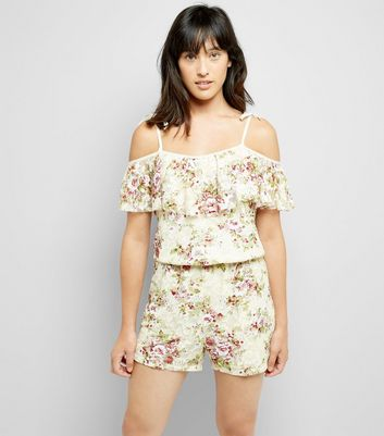 Cameo Rose Cream Floral Lace Playsuit