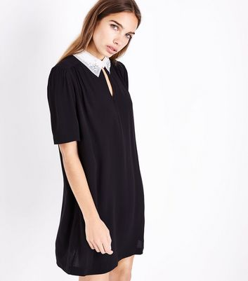 Black Embellished Collar Tunic Dress
