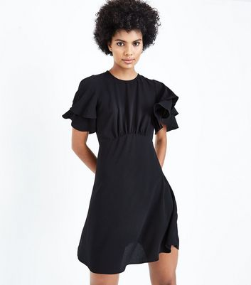 Black Tiered Sleeve Tea Dress