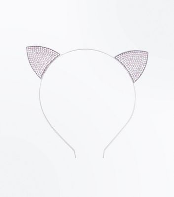 Silver Diamante Embellished Cat Ears