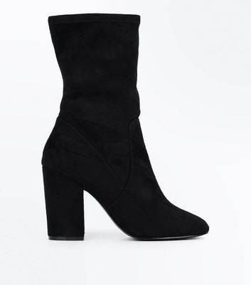 Wide Fit Black Suedette Calf Sock Boots
