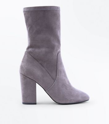 Wide Fit Grey Suedette Calf Sock Boots