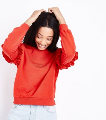 Red Frill Sleeve Sweatshirt