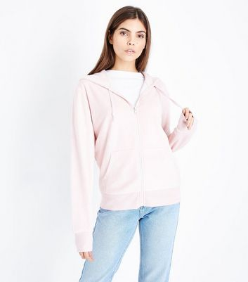 Shell Pink Velour Zip Front Hoodie