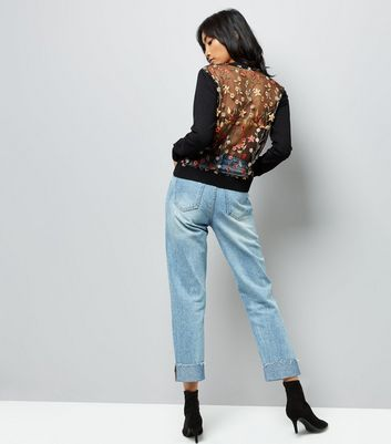 Black Floral Embroidered Mesh Back Jumper