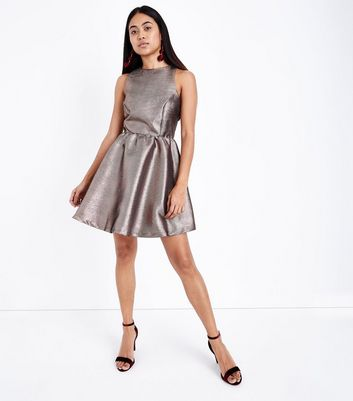 Petite Black Metallic Jacquard Cut Out Skater Dress