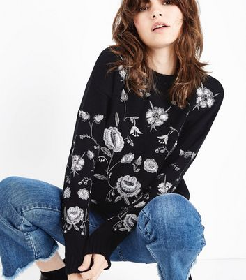 Black Metallic Floral Embroidered Jumper