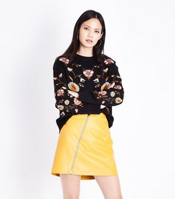 Black Floral Embroidered Jumper