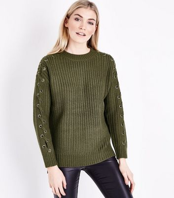 Olive Green Eyelet Lace Up Sleeve Jumper