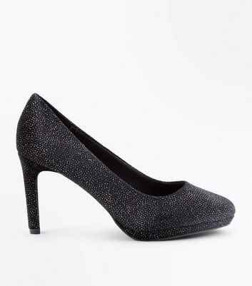 Black Comfort Velvet Glitter Court Shoes